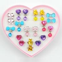 20180823202606348儿童戒指儿童耳环女孩儿童宝石戒指钻石戒指耳环耳夹女童首饰套装
