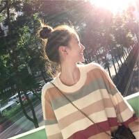 懒惰风ins网红毛衣秋冬长袖宽松韩版学生针织衫彩虹圆领T恤女 黄条