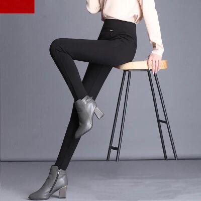 特大码胖MM黑色打底裤女外穿加绒加厚秋冬小脚铅笔裤高腰大码长裤  S 80-90斤