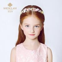 儿童头饰公主发饰粉色陶瓷发箍花童头饰韩式珍珠头箍皇冠头花