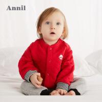【200-120】安奈儿童装男女童婴童棒球服外套2019冬装新款全棉新生儿宝宝上衣