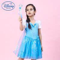 迪士尼冰雪奇缘公主裙爱莎女童女王艾沙爱沙连衣裙衣服纱裙礼服 天蓝色