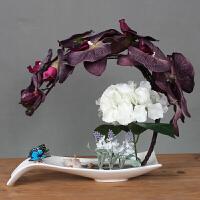 餐桌摆件假花 蝴蝶兰假花盆栽欧式仿真花艺套装家居客厅装饰花玄关餐桌盆景摆件