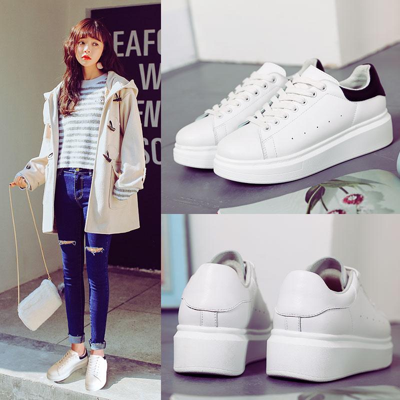 ZHR真皮小白鞋女板鞋韩版平底运动鞋2018新款单鞋春季厚底女鞋子G35