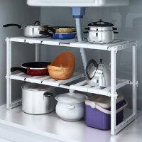 双层不锈钢管可伸缩置物架厨房隔板层架水槽下架子多层伸缩收纳架落地储物架锅架创意家居收纳 白 色