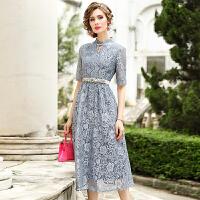 蕾丝连衣裙女装2019夏季新款气质时尚收腰显瘦长裙短袖裙子
