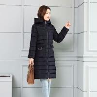 韩版棉衣女中长款时尚显瘦修身冬季保暖棉袄连帽外套大码 S 建议70-85斤