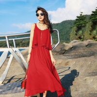 红色露肩雪纺吊带连衣裙夏装2019新款女夏季显瘦收腰沙滩中长裙子 均码F