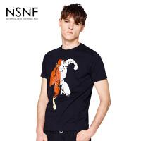 NSNF动漫插画人物黑色纯棉修身男款T恤 短袖t恤2017新款 设计师潮流男装 修身圆领针织短袖