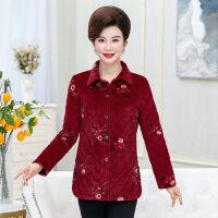 女士秋装衬衫款薄秋冬季外套女妈妈装薄棉袄上衣保暖外套 丝绒印花 红色 XL 80-100
