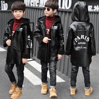儿童加绒皮衣外套中大童2018秋冬新款韩版上衣男孩加厚夹克衫