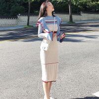 网红毛衣裙韩版秋冬长袖针织连衣裙气质修身长款显瘦打底裙女