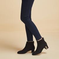 【网易严选清仓秒杀】脚感惊艳优雅有范,女式弹力绒布粗跟裸靴