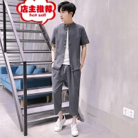 男士短袖t恤中国风棉麻半袖两件套男装青年纯色夏季新款休闲套装