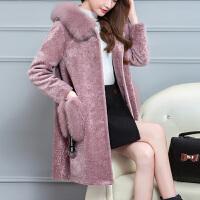 大衣女新款2019韩版中长款女士外套冬季连帽毛