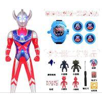 超大号奥特曼玩具赛罗泰罗超人套装变形男孩迪加变身器迪迦奥特曼 银色 65泰罗送11