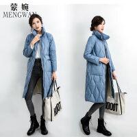 韩版女款羽绒服女加厚2019冬装时尚立领长款过膝保暖外套 S 80-105斤