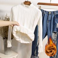 加绒加厚针织衫女冬保暖短款套头修身中领打底衫新款百搭长袖毛衣