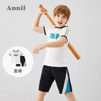 【3件3折】安奈儿男童夏天套装2020新款纯棉短袖短裤两件套装男生T恤五分裤2