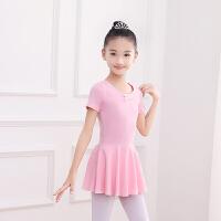 舞蹈服儿童女秋冬季练功服套装体幼儿长袖中国民族舞女孩紫 粉红色短袖 送裤袜舞蹈鞋