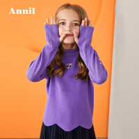 【3件3折折后价:80.7】安奈儿童装女童毛衣冬季新款女宝中小童休闲中领长袖套头毛衣