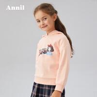 【活动价:134.5】安奈儿童装女童卫衣带帽2020春季新款潮中大童女生上衣韩版落肩袖