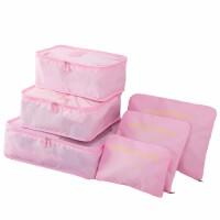 旅行收纳袋行李箱衣服整理包女出差旅游分装整理袋内衣物收纳包 粉色(6件套)