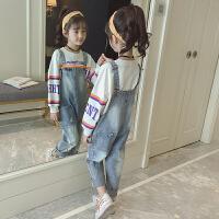 儿童背带裤2018新款韩版秋季长裤女孩牛仔裤休闲装