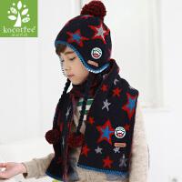 男女儿童帽子冬围巾两件套装宝宝帽子秋冬2-4-8岁护耳帽儿童围巾