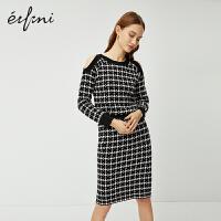 伊芙丽套装两件套洋气2020新款春装新年套装女时尚格子针织套装裙