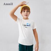 【3件3折】安奈儿童装男童短袖T恤夏2020新款潮中大童上衣洋气薄纯棉体恤衫4