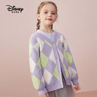 【2件4折券后价:101.6元】迪士尼女童针织开衫秋2021秋季新款儿童毛衣女时尚毛衫