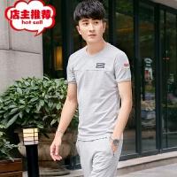 休闲套装男夏季运动衣男士运动套装短袖T恤两件套夏套装潮流韩版 M(身高160-168 体重90-105斤)