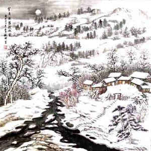 河南省美协会员,河南国家画协会会员,中原文化艺术研究院理事刘辉(雪月依旧照故园)