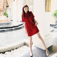 连衣裙女夏季很仙的法国小众网红法式复古裙山本超仙桔梗智熏裙子 红色