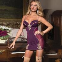 欧美加大码情趣内衣性感紧身包臀吊带丝袜情趣套装200斤可穿 紫色