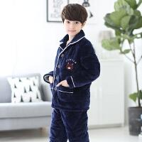 儿童睡衣冬季厚款珊瑚绒法兰绒男孩子小孩男童宝宝睡衣