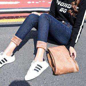 港味风高腰加绒加厚牛仔裤女2019冬季新款长裤显瘦潮3082#