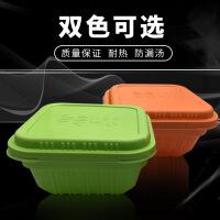 一次性餐盒橘白方碗连体盖饭盒单格便当盒加厚环保餐盒300个