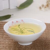 手绘白瓷斗笠杯功夫茶杯陶瓷品茗杯茶具主人个人小单杯普洱泡茶杯