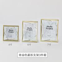 6存相框轻奢金属北欧风照片相框摆台创意几何6寸7寸简约立体玻璃框架摆件 其他尺寸