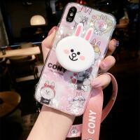卡通兔子小熊�O果iphone6splus手�C�す枘zX新款7p潮牌8女�炖K防摔