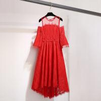 2018秋女士连衣裙漏肩连衣裙女2018秋装新款气质心机裙子设计感红色蕾丝chic 红色