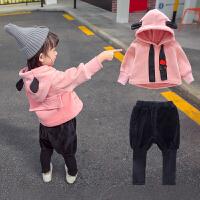 女宝宝金丝绒套装0秋冬装2潮4岁女童洋气卫衣5儿童韩版1小童加绒3 粉色