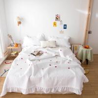 伊迪梦家纺 水洗棉床盖款式夏被三件套 纯色花边绗缝定位绣花 加厚夹棉夏凉被空调被1.2/1.5/1.8m米单人双人床C