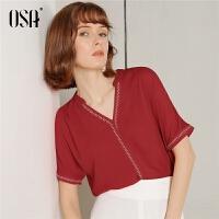 【过年3折价:104.3】OSA欧莎2019秋装新款韩版时尚立领荷叶边雪纺衫短袖衬衫女