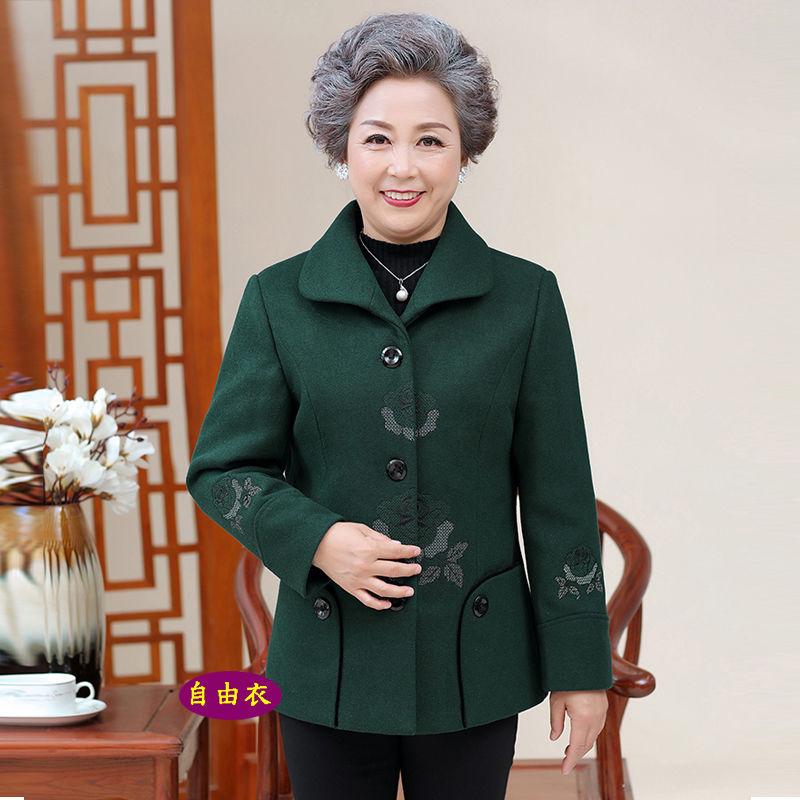中老年人女装秋装奶奶装短款毛呢外套上衣中年妈妈装秋冬加厚外套