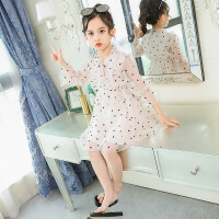 女童连衣裙夏装2019新款儿童超洋气大童网红小女孩公主裙童装裙子 米黄色