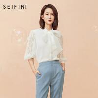 李沁明星同款诗凡黎泡泡袖上衣2020设计感衬衣女小众港风衬衫短袖