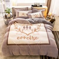 冬季加厚珊瑚绒四件套法莱法兰绒被套床单双面水晶宝宝绒床上用品